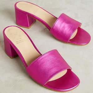 ANTHRO KMB metallic block heel sandals